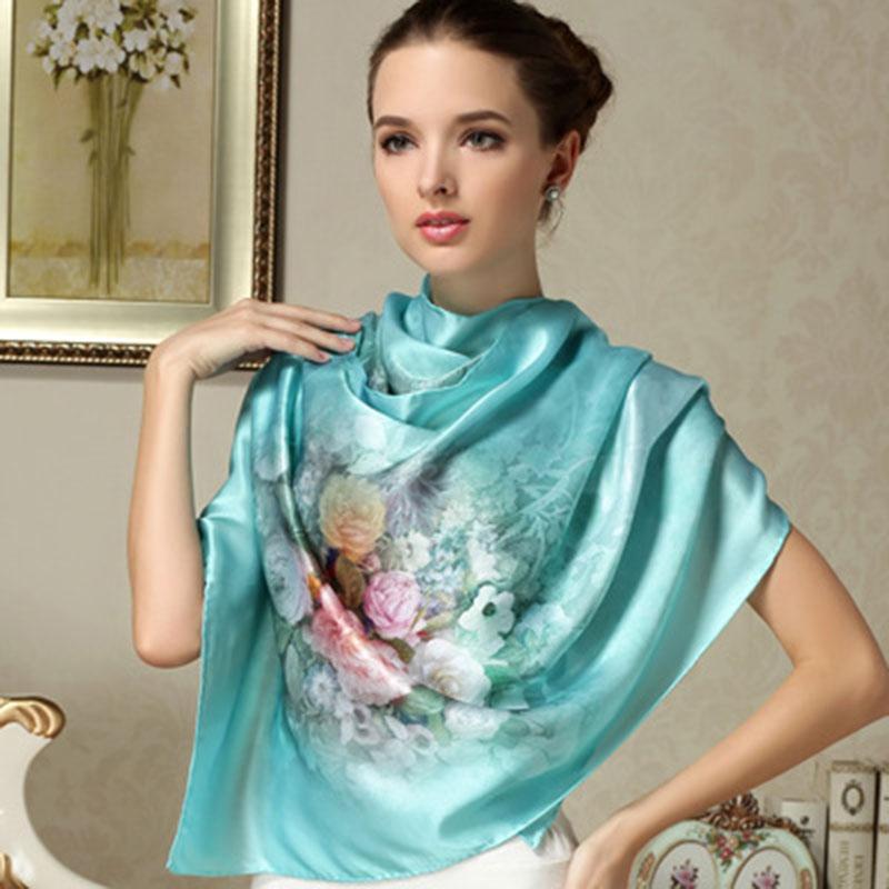 2016 100% Mulberry Long Scarf Women Silk Scarf Luxury Brand Scarf Shawl Silk Scarves Long Printed Shawls Beach Cover-ups(China (Mainland))
