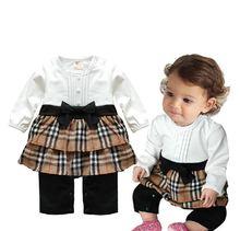 Female baby spring autumn Dress / female baby lovely bow 100% cotton long-sleeved dress(China (Mainland))
