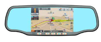 Car Rear view Mirror 5' GPS HD touch screen+1080P DVR+Built-in radar detector+parking camera+bluetooth+2 Chanel Speakers
