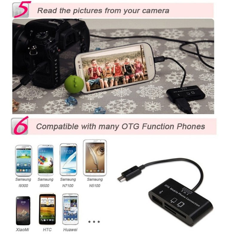 3in1 OTG SD Micro-SD Card Reader USB Port HUB Connection Kit for Mobile Phone PC(China (Mainland))