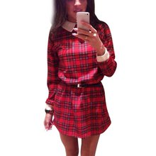 Women Long Sleeve Casual Tartan Shift Mini Dress Check Shirt Dress YRD