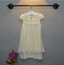 Girls Lace Dress New Brand Summer Baby Hollow Flower Princess Girl Party Dresses(China (Mainland))