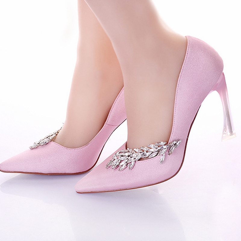 Fashion Women Pumps Strange Heel Bridal Wedding Party Shoes Pointed Toe Pink Banquet Dress Shoes Satin Prom High Heel Shoes