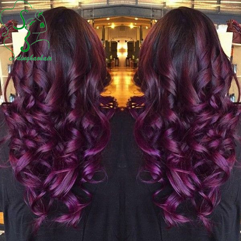 1b/purple ombre wig body wave full lace wig/Brazilian virgin glueless lace front human hair wigs top quality for black women<br>