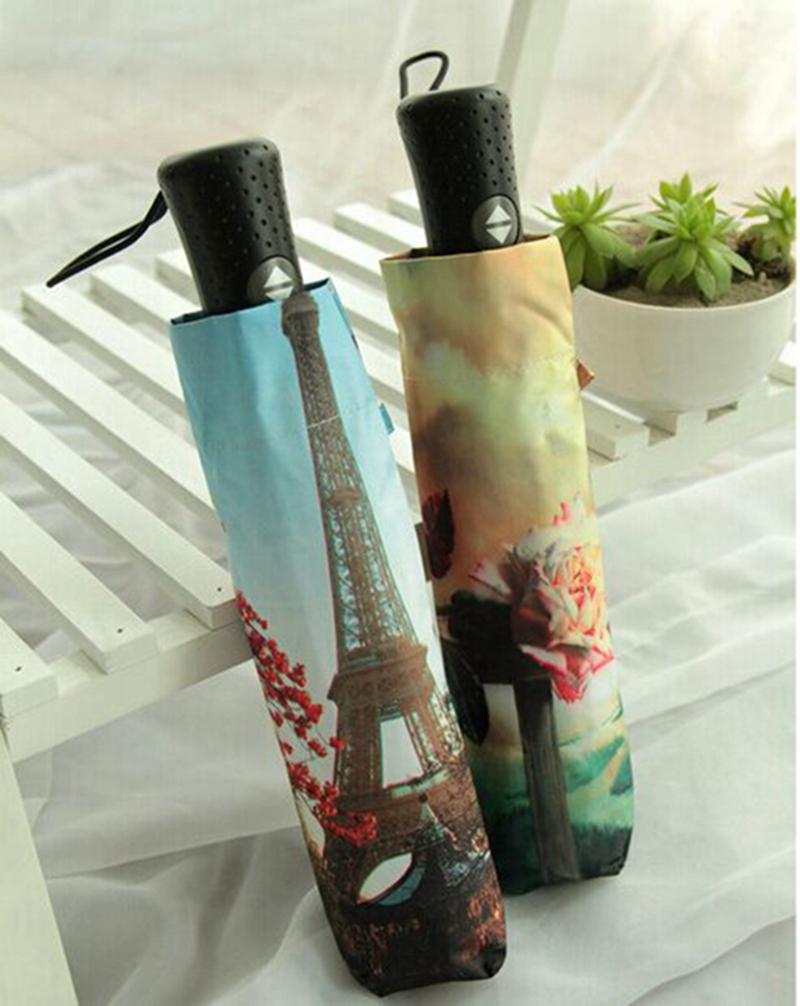 Хорошее качество автоматического масляной живописи зонтик мужчины женщины складной ветрозащитный вс дождь зонтик зонтик УФ большой parapluie paraguas