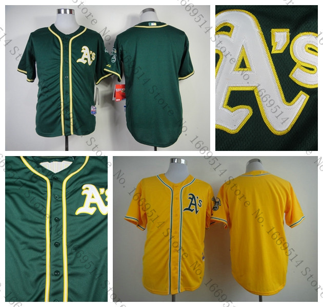Fast Free Shipping Men's Oakland Athletics Jerseys Blank Baseball Jersey Green NWT Yellow No Name No Number Stitched,From China(China (Mainland))