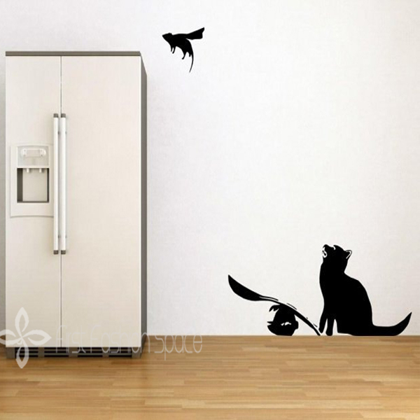 Wall Art Stickers Banksy : New banksy wall decal cat and mouse super