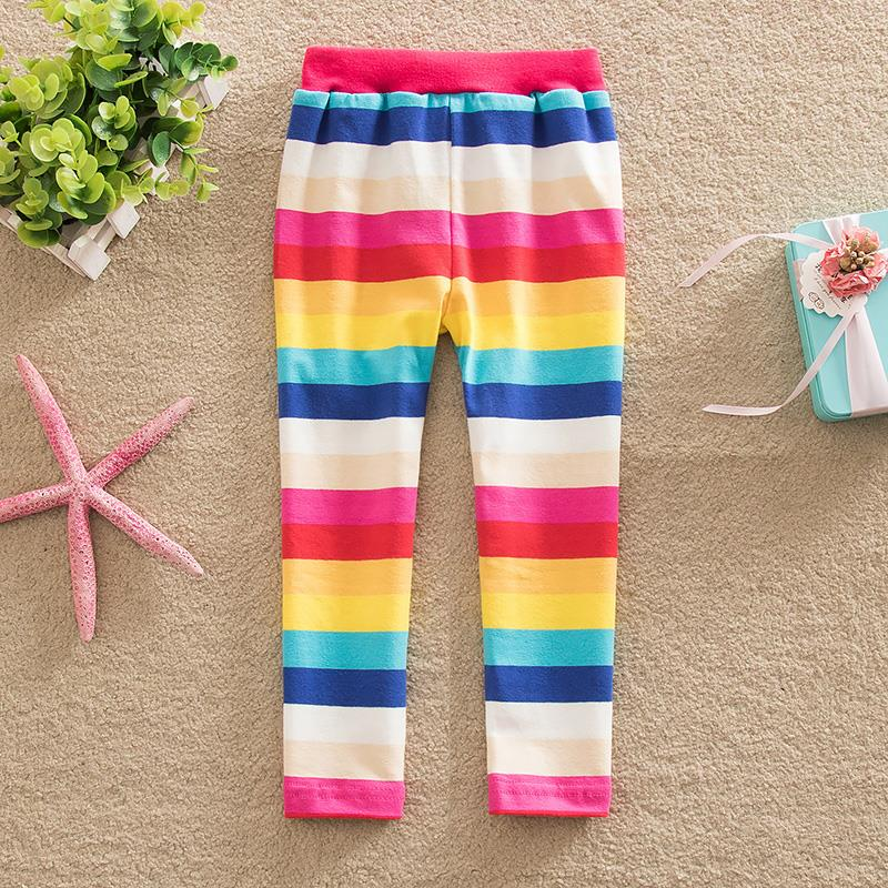 Retail!Comfortable neat and 2015 new style multiple color line my rainbow stripe cartoon 100% cotton girl star pants F5088(China (Mainland))