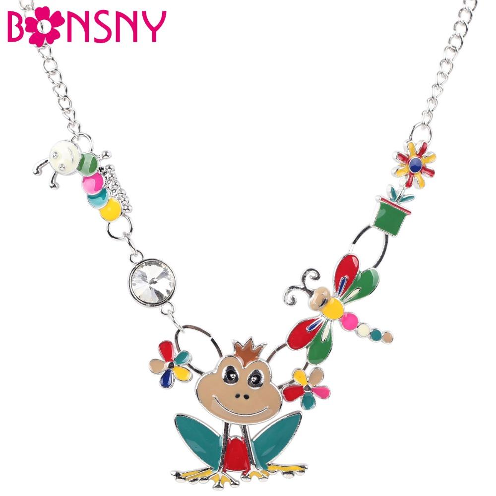 Bonsny Maxi Alloy Frog Bee Caterpillar Necklace Chain Enamel Jewelry Pendant 2016 New Fashion Jewelry Women Statement Charm(China (Mainland))