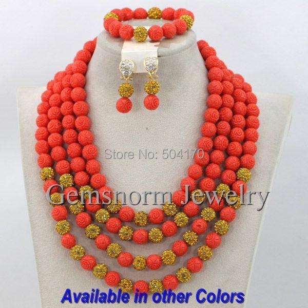 Splendid Pink Coral Beads Jewelry Set Nigerian Wedding Beads Jewelry Set Coral Bridal Jewelry Set Free Shipping CNR200<br><br>Aliexpress