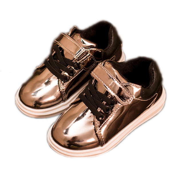 2016 children bright pu leather shoes fashion