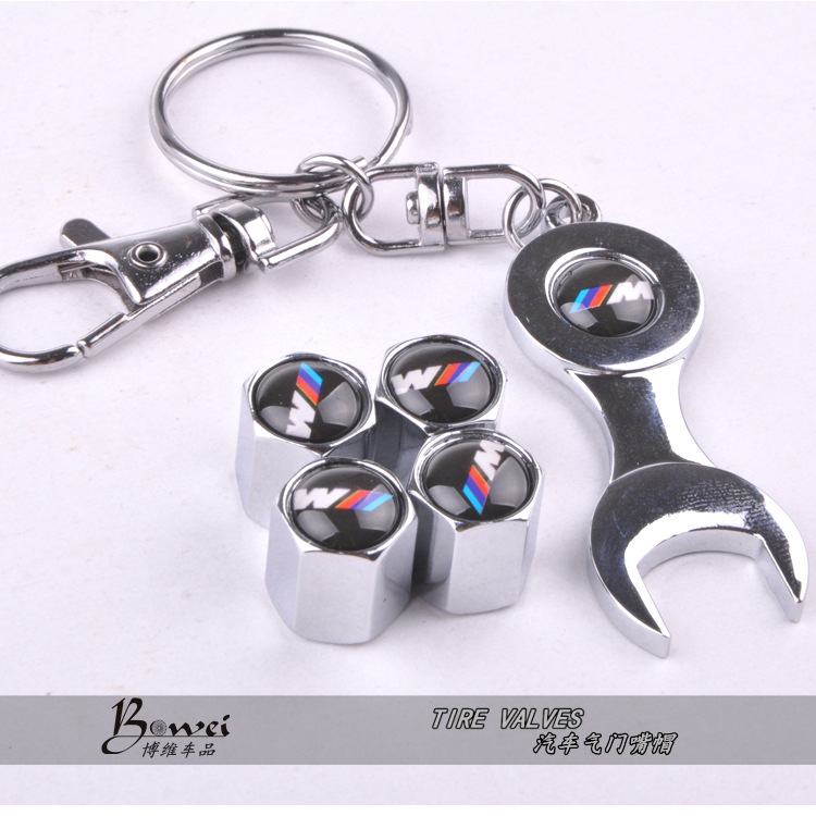 New Hot Sale Red W Car Wheel Tire Valve Caps with Mini Wrench & Keychain (4-Piece/Pack)(China (Mainland))