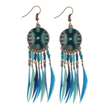 Fashion Bohemia Women Earrings Women's Trendy Long Earrings Jewelry Drop Feather Boho Style Feather Drop Earrings HQE011(China (Mainland))