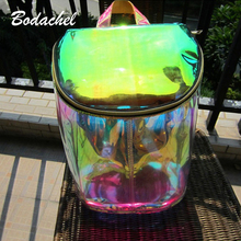2016 Women Bags Transparent Backpack High Quality Laser Hologram Backpack Girls Shoulder Bag bolsos de pvc(China (Mainland))