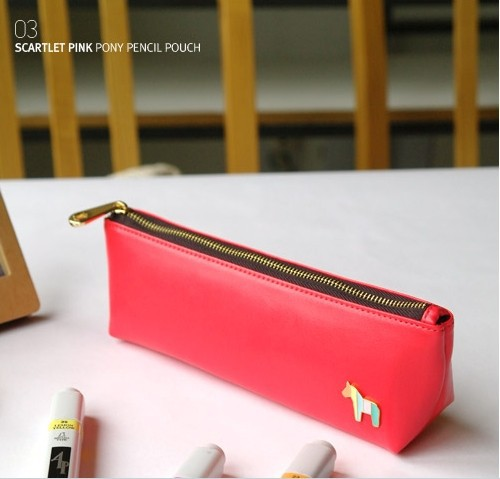 1PC Horse Faux Leather Pencil Pen Case Cosmetic Makeup Bag Zipper Pouch Purse(China (Mainland))