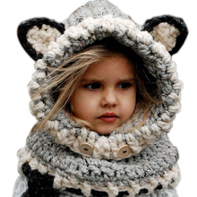 2015 Korean Winter Warm Neck Wrap Fox Scarf Caps Cute Children Wool Knitted Hats Baby Girls Shawls Hooded Cowl Beanie Caps(China (Mainland))