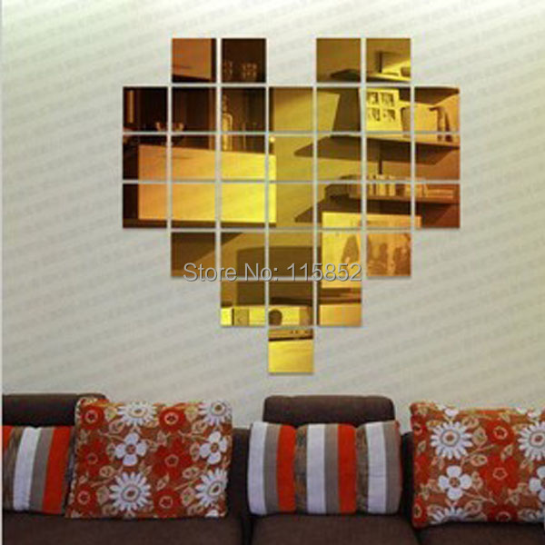 !new arrive !3d PS DIY mirror wall sticker home decor ,golden silver love heart ,removable ! - Fashion Joya Store store