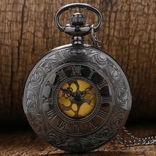 Negro Gris de Línea Romana relojes de cuarzo collar Reloj de Bolsillo Antiguo de La Vendimia con la cadena P413(China (Mainland))