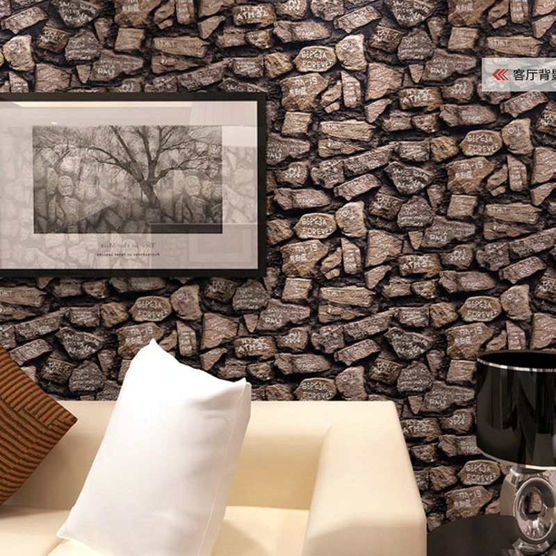 Deep embossed 3d brick wallpaper modern brick pattern for Black 3d brick wallpaper