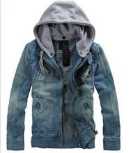 Free Shipping 2014 Big Size tops cotton Sport Men's Hoodie Jeans Jacket  outerwear hooded Winter coat denim jacket coat # 5853(China (Mainland))