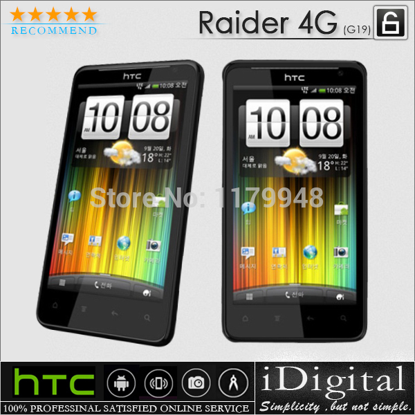 "100% Original HTC G19 X710e Raider 4G Unocked 4.5""IPS 1.5GHz 16GB 8MP Android 2.3 3G WIFI GPS Cell Phone Refurbished(China (Mainland))"