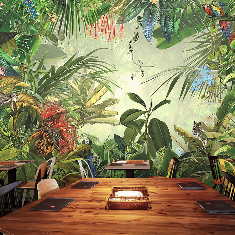 Free Shipping Original forest animals tropical forest 3D Wallpaper children's room bedroom fast food restaurant wallpaper mural(China (Mainland))