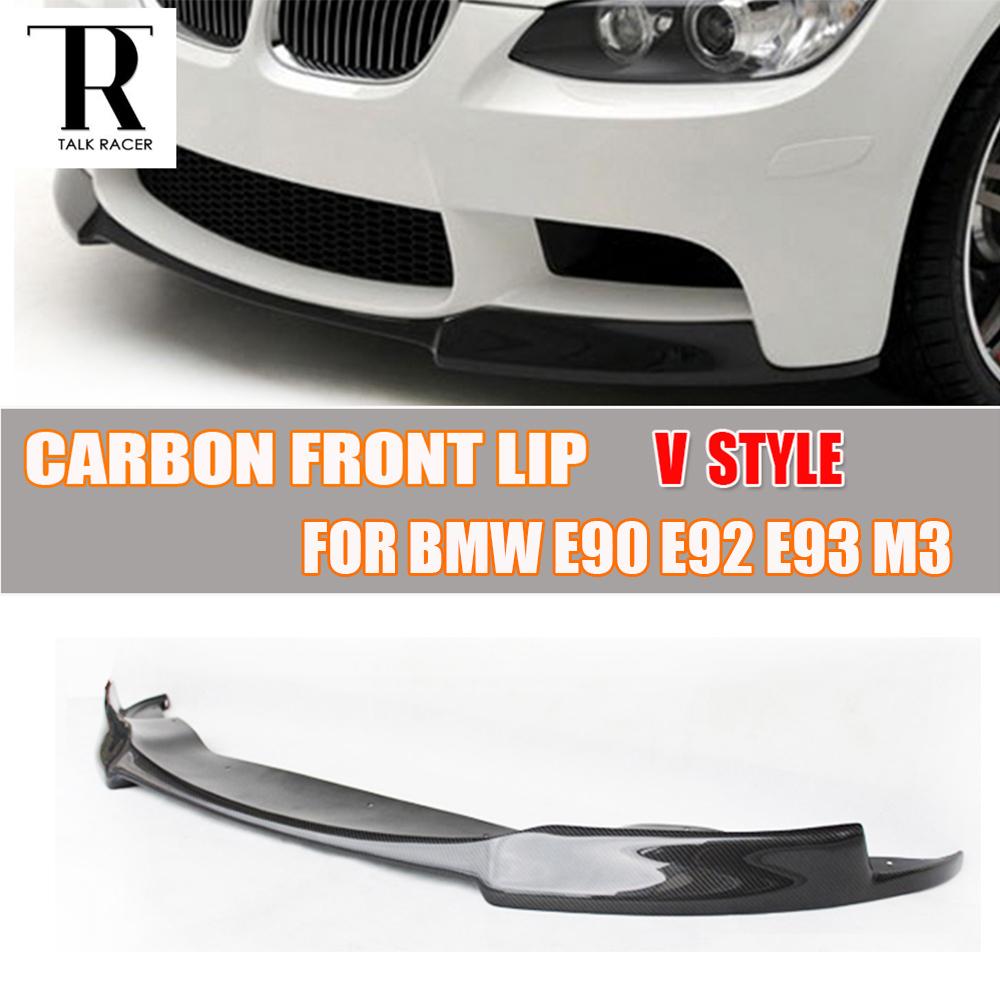 V style e90 e92 e93 m3 carbon fiber front bumper lip diffuser for bmw e90 e92