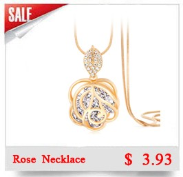 New Brand Long Necklace Gold Plated Popcorn Chain Austrian Crystal Jewelry Pendant Necklaces Women Gift Rose Flower Necklace