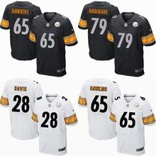 2016 New Draft Pick Men Pittsburgh Steelers, #28 Davis, #65 Hawkins #79 HARGRE Elite embroideried stitched logo black white(China (Mainland))