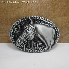 Retail 100% Brand New Cool horse head cowboy belt Buckles 89*64mm 77.3g Oval Silver metal fit 4cm Wide Belt Jeans Accessories - buckle world II store