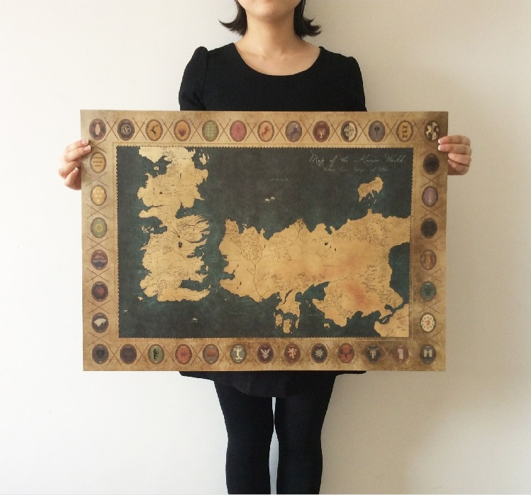 Game of thrones american tv series the old map vintage for Game of thrones garden ornaments