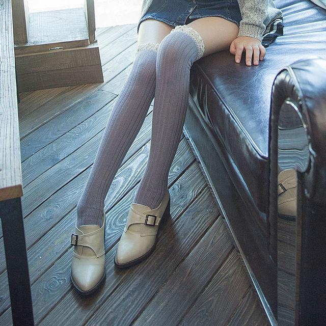 2015 новые женщин сексуальный чулки с кружевом японский каваи твердые бедро высокого гольфы милый лолита длинные носки