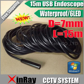 Free shipping,New Arrival 7MM Lens  Mini USB Waterproof Endoscope Borescope Snake Inspection Camera 15M with 6LED,XR-IC15B