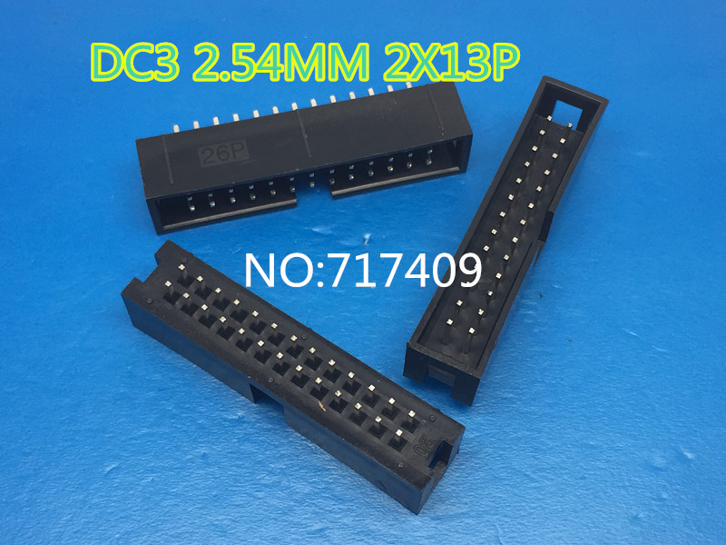 50 Pcs Per Lot 2.54mm 2x13 Pin 26 Pin Straight Male Shrouded PCB Box header IDC Socket<br><br>Aliexpress