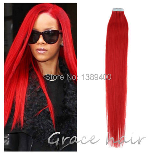 "100% real natural PU Tape hair extensions Silk Straight Red Color 2g/pcs 10pcs/lot 12"" 14"" 16"" 18"" 20"" 22"" 24""(China (Mainland))"