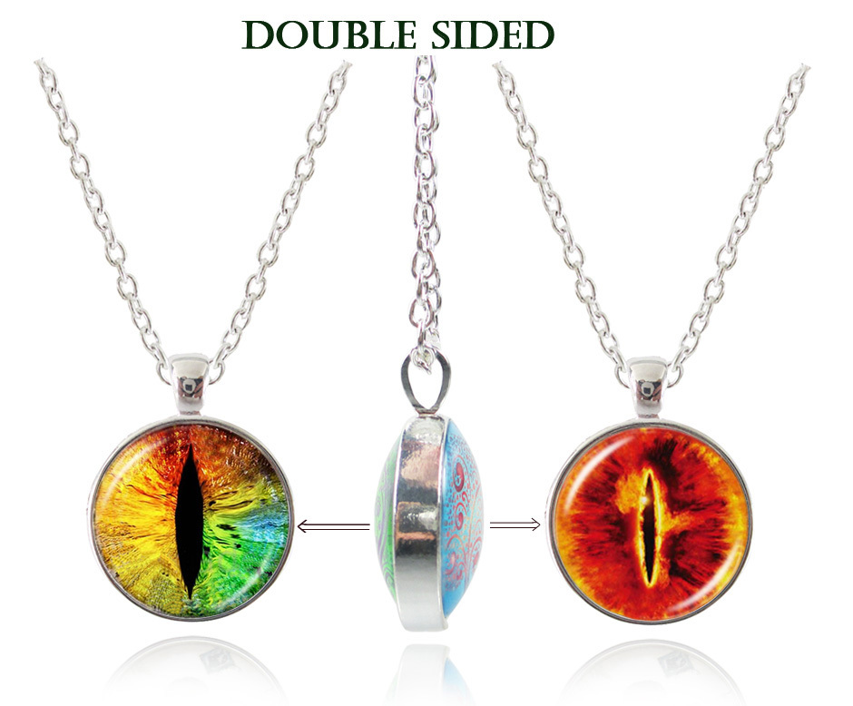 Double sided pendant evil eye statement necklace eye jewelry silver chain necklace vintage dragon eye choker women jewelry gifts(China (Mainland))