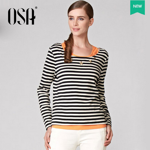 Big Promotion ! OSA 2015 Women Two Piece Set Striped Tops Tee Casual Fashion Ladies T Shirt ST32765(China (Mainland))