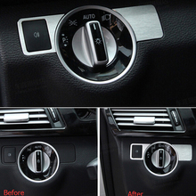 Aluminum Alloy Front Head Light Switch Cover Trim Sticker Mercedes Benz B C E Class GLK GL ML CLS Styling Car Accessory - cycle accessory store
