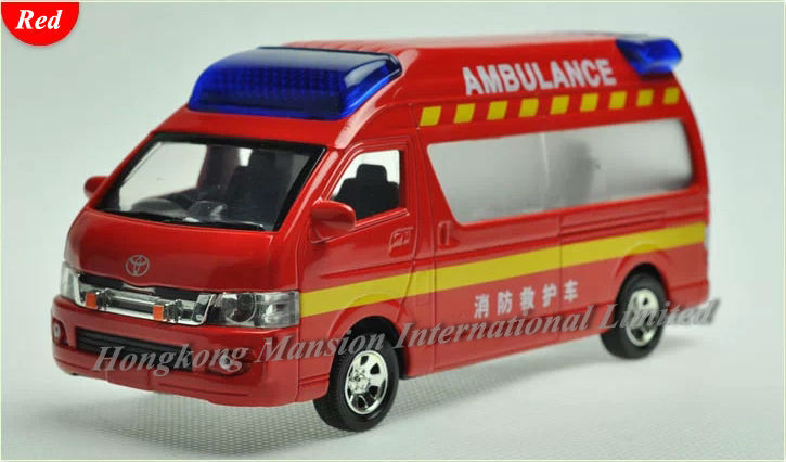 1:32 Scale Diecast Alloy Fire Ambulance Car Model For TOYOTA Himedic (Hiace) Collection Model Pull Back Toys Car Sound&Light(China (Mainland))