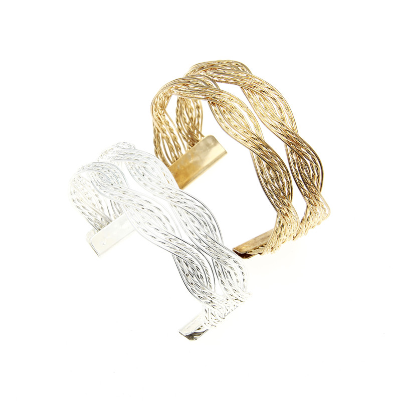 Ocean jewelry Hot Sale Alloy knitted twisted metal rattan Women wide bracelet woven women cuff bracelets bangles(China (Mainland))