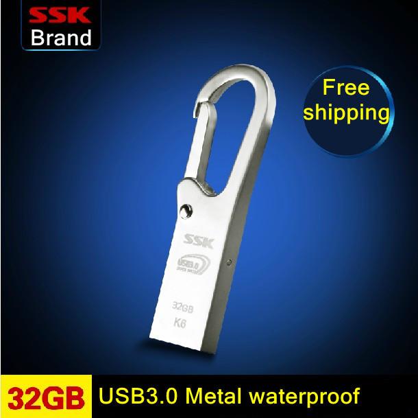 Гаджет  Free shipping SSK K6 USB 3.0 100% 32GB USB flash drives pen drive waterproof High speed metal 32G USB 3.0 flash drives  None Компьютер & сеть