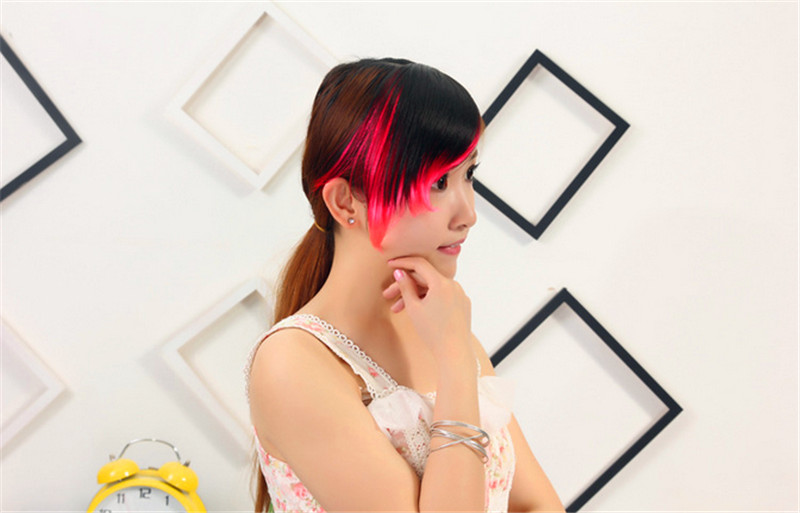 New arrival High Quality Synthetic Hair Fringe/Bangs 3 Highlighting Colors with Easy Clip-In Female Bang Fringe(China (Mainland))