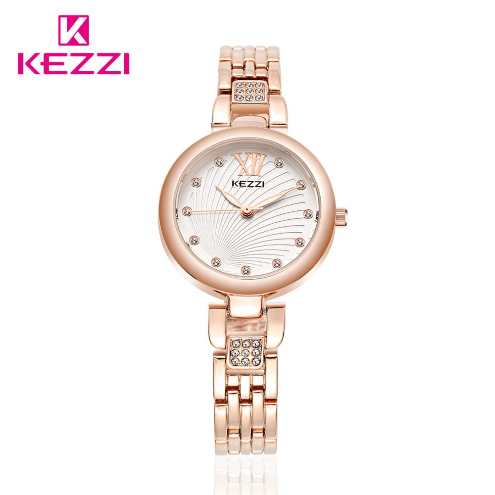 HK KEZZI Brand Fashion Lady's Watch 30M Bar Warterpoof Stainless Steel Diamond Women Watches Round Case Alloy Dress Watch 1462