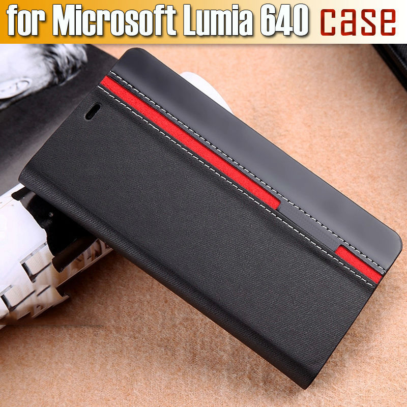 New Arrival for Microsoft Lumia 640 Case Ultra thin Leather flip cover for nokia lumia 640 back case +Screen protection(China (Mainland))
