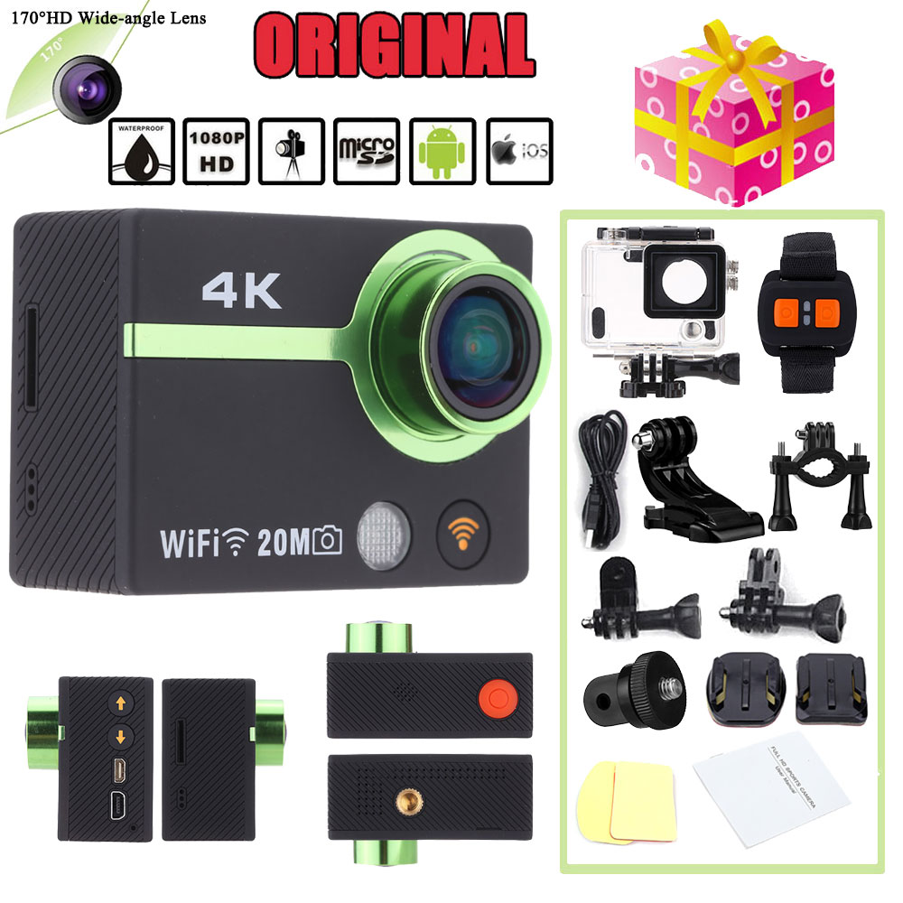 4K HD Wifi Sports Action Camera 170 degree Wide Angle Waterproof 50M Video Camera Camcorder Car DVR Watch App Smartphone Control(China (Mainland))