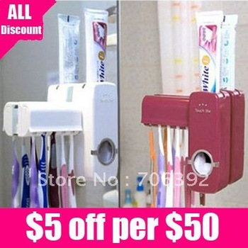 Free shipping New Automatic Toothpaste Dispenser Toothbrush Holder sets 1pcs/lot