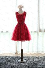 Appliques Sexy red short Lace Prom Dresses Elegant O-Neck Vestidos De Fiesta vestido de noiva robe de soiree vestido de festa