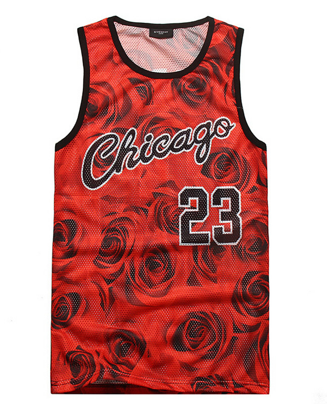 New 2015 men's summer tank tops 3D print rose floral Chicago Jordan 23 basketball vest fit slim jersey sleeveless tee shirts(China (Mainland))