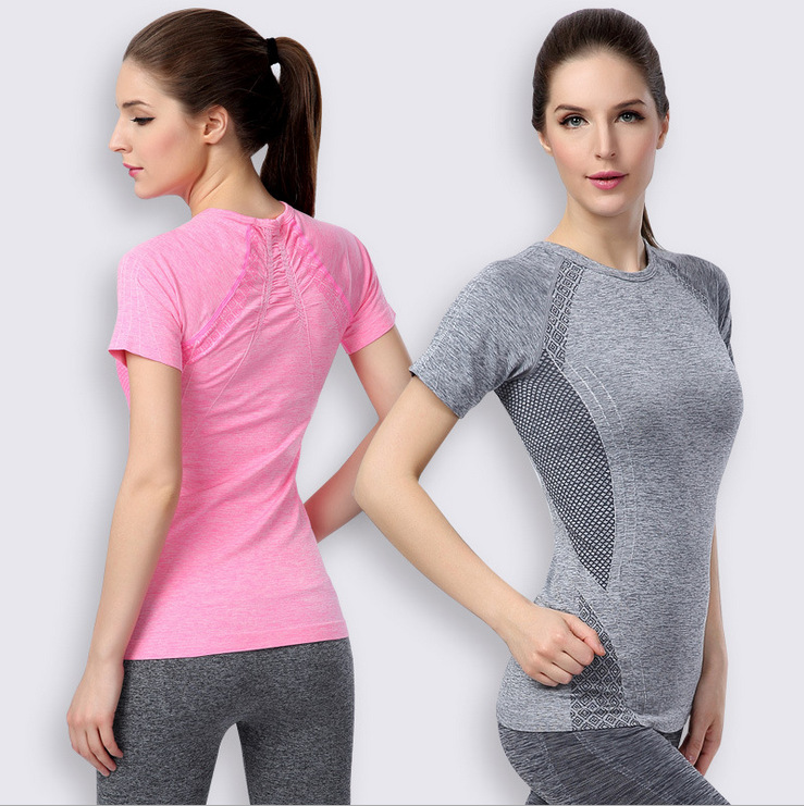 Fashion Women Quick Dry Fitness O Neck Short Sleeve Elastic Sport Gym Running Exercise Tee T