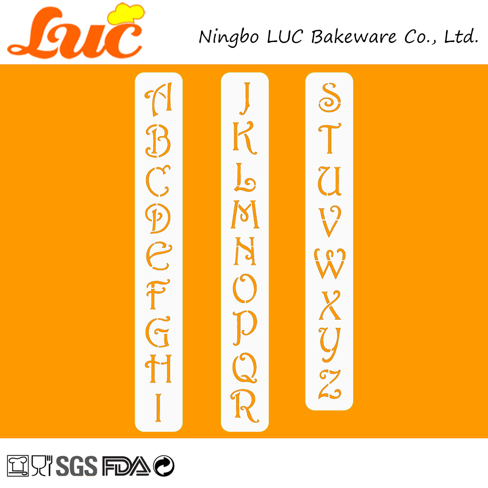 "[Personalized Style] Border Decorating 3 PCS 1.25"" Contemporary Monogram Letters Pattern Cake Stencils Set Plastic(China (Mainland))"